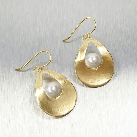 Marjorie,Baer,Hammered,Brass,Cutout,Wavy,Teardrop,with,Floating,Pearl,Earrings,Marjorie Baer Earrings, Hammered Brass Earrings with Pearl