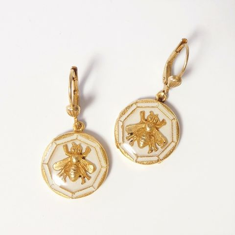 Catherine,Popesco,Deco,Enamel,Bee,Earrings,in,White,Catherine Popesco Earrings, La Vie Parisienne Earrings, Catherine Popesco Jewelry, Catherine Popesco Paris