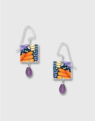 Lemon,Tree,-,Colorful,Monarch,Butterfly,Wing,Print,Square,Earrings,Lemon Tree Earrings Colorado, Lemon Tree Colorful Monarch Butterfly Wing Print Square Earrings