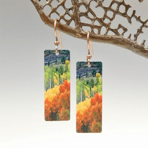 DC,Designs,-,Autumn,Forest,Mountain,Nature,Print,Long,Rectangle,Earrings,J04CE,DC Designs Jewelry, Art Print Earrings, DC Designs Earrings, Handmade Colorado