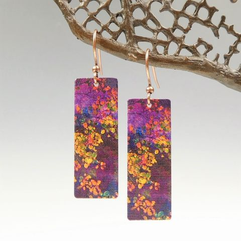 DC,Designs,-,Dark,Purple,Abstract,Flowers,Print,Long,Rectangle,Earrings,ME12CE,DC Designs Jewelry, Art Print Earrings, DC Designs Earrings, Handmade Colorado