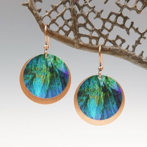 DC,Designs,-,Dark,Teal,Blue,Abstract,Art,Layered,Copper,Disc,Earrings,ME10RE,DC Designs Jewelry, Art Print Earrings, DC Designs Earrings, Handmade Colorado