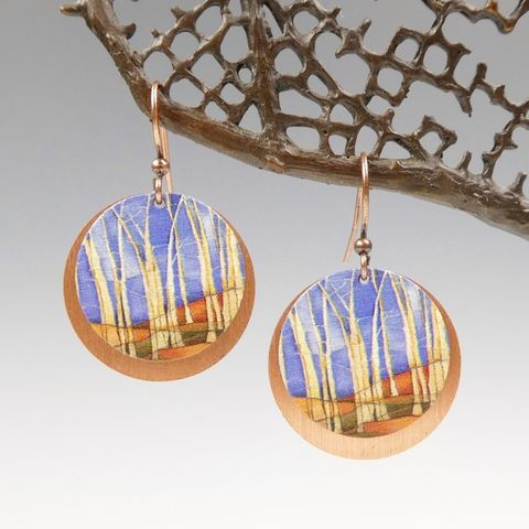 DC,Designs,-,White,Birch,Trees,Blue,Sky,Layered,Copper,Disc,Earrings,SH13RE,DC Designs Jewelry, Art Print Earrings, DC Designs Earrings, Handmade Colorado