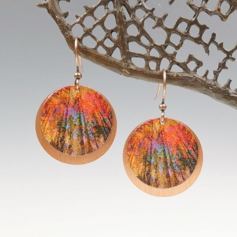 DC,Designs,-,Autumn,Red,Trees,Nature,Print,Layered,Copper,Disc,Earrings,ME1RE,DC Designs Jewelry, Art Print Earrings, DC Designs Earrings, Handmade Colorado