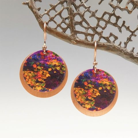 DC,Designs,-,Dark,Purple,Abstract,Flowers,Print,Layered,Copper,Disc,Earrings,ME12RE,DC Designs Jewelry, Art Print Earrings, DC Designs Earrings, Handmade Colorado