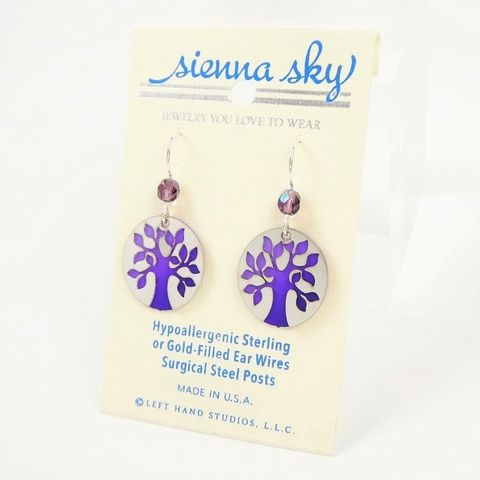 Sienna,Sky,Earrings,-,Shiny,Silver,Tree,on,Purple,Disc,Sienna Sky Earrings, Adajio earrings Sienna Sky, Etched Brass Earrings, Tree earrings