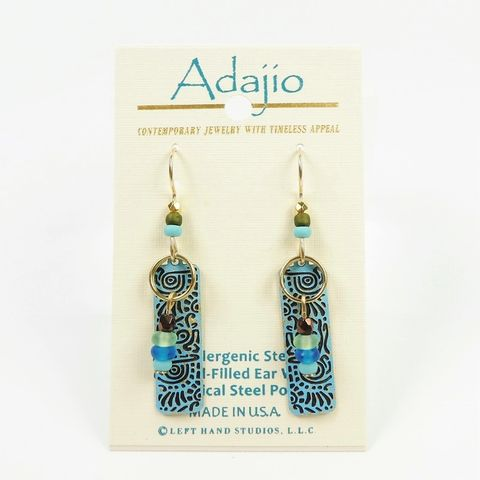 Adajio,Earrings,-,Aged,Turquoise,Column,with,Beads,on,Ring,Adajio 7003, Adajio Earrings, Adajio earrings Sienna Sky, Etched Brass Earrings, Artisan Handmade