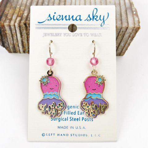 Sienna,Sky,Earrings,-,Colorful,Pink,Blue,Purple,Octopus,Sienna Sky Earrings, Adajio earrings Sienna Sky, Etched Brass Earrings, Octopus earrings