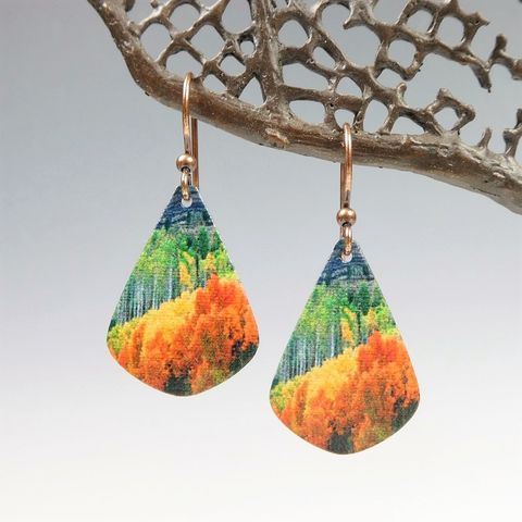 DC,Designs,-,Autumn,Forest,Mountain,Nature,Print,Teardrop,Earrings,DC Designs Jewelry, Art Print Earrings, DC Designs Earrings, Handmade Colorado