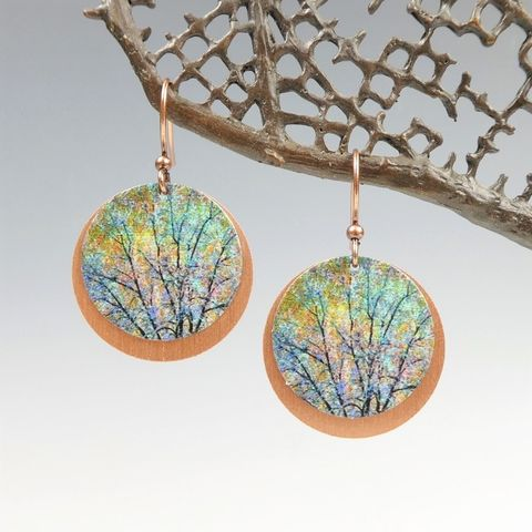 DC,Designs,-,Brown,Green,Trees,Nature,Print,Layered,Copper,Disc,Earrings,DC Designs Jewelry, Art Print Earrings, DC Designs Earrings, Handmade Colorado