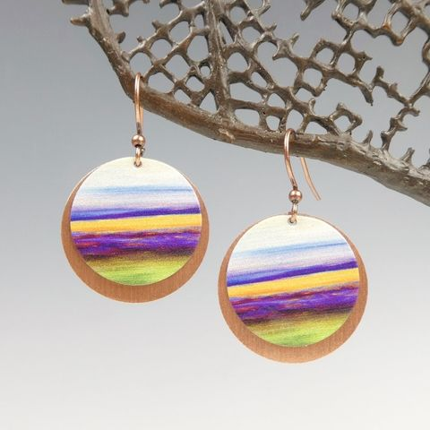 DC,Designs,-,Multicolor,Lines,Abstract,Art,Layered,Copper,Disc,Earrings,DC Designs Jewelry, Art Print Earrings, DC Designs Earrings, Handmade Colorado