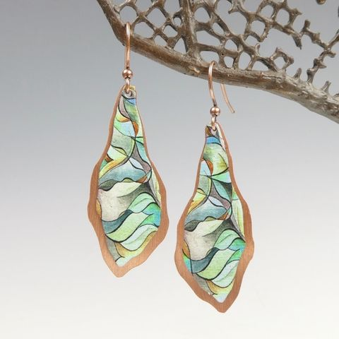 DC,Designs,-,Green,Abstract,Art,Large,Freeform,Teardrop,Earrings,with,Layered,Copper,Back,DC Designs Jewelry, Art Print Earrings, DC Designs Earrings, Handmade Colorado