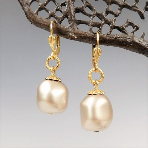 Catherine,Popesco,Large,Gray,Swarovski,Baroque,Pearl,Earrings,Catherine Popesco earrings, La Vie Parisienne earrings, Catherine Popesco Jewelry, Catherine Popesco Paris