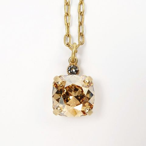 Catherine,Popesco,Small,Square,Crystal,Pendant,Necklace,in,Champagne,La Vie Parisienne Necklace, Catherine Popesco Jewelry, Catherine Popesco Paris