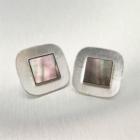 Marjorie,Baer,Concave,Square,with,Black,Mother-of-Pearl,Earrings,Marjorie Baer clip post earrings, Marjorie Baer Concave Square with Square Mother-of-Pearl Earrings