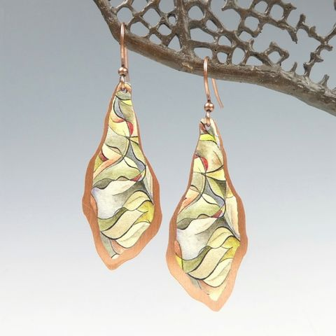 DC,Designs,-,Yellow,Green,Abstract,Art,Large,Freeform,Teardrop,Earrings,with,Layered,Copper,Back,DC Designs Jewelry, Art Print Earrings, DC Designs Earrings, Handmade Colorado