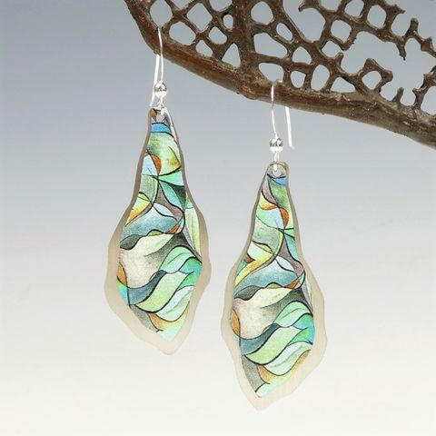 DC,Designs,-,Green,Abstract,Art,Large,Freeform,Teardrop,Earrings,with,Layered,Silver,Back,DC Designs Jewelry, Art Print Earrings, DC Designs Earrings, Handmade Colorado