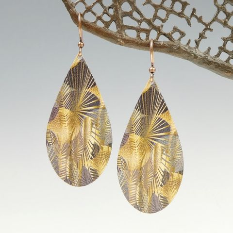DC,Designs,-,Brown,Tropical,Palm,Leaf,Abstract,Art,Large,Teardrop,Earrings,DC Designs Jewelry, Art Print Earrings, DC Designs Earrings, Handmade Colorado