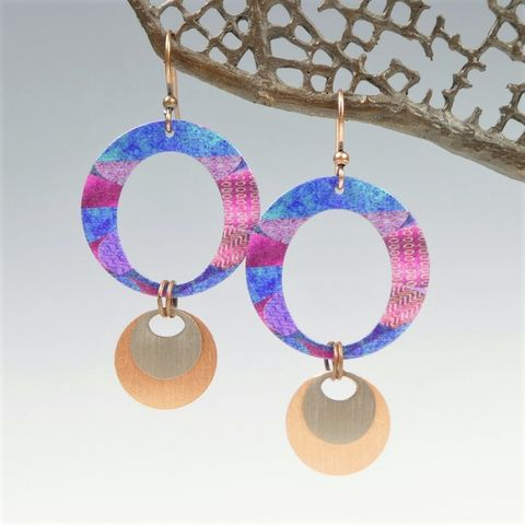 DC,Designs,-,Large,Layered,Circles,Earrings,in,Blue,and,Pink,DC Designs Jewelry, Art Print Earrings, DC Designs Earrings, Handmade Colorado