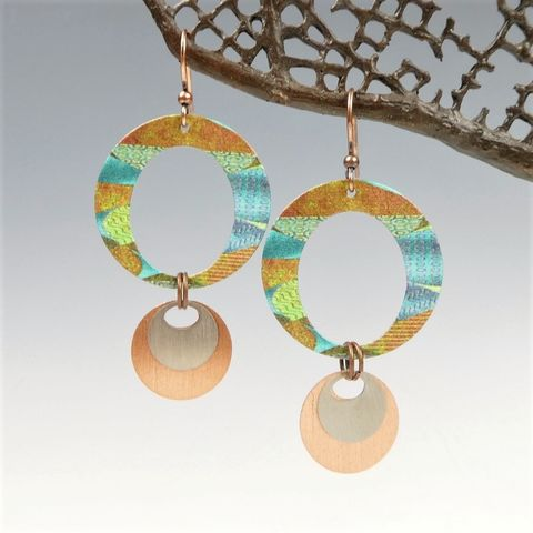 DC,Designs,-,Large,Layered,Circles,Earrings,in,Green,and,Brown,DC Designs Jewelry, Art Print Earrings, DC Designs Earrings, Handmade Colorado