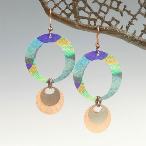 DC,Designs,-,Large,Layered,Circles,Earrings,in,Blue,and,Green,DC Designs Jewelry, Art Print Earrings, DC Designs Earrings, Handmade Colorado