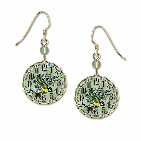 Lemon,Tree,-,Bird,on,Clock,Brass,Disc,Earrings,Lemon Tree Earrings Colorado, Lemon Tree Earrings Bird on Clock Brass Disc Earrings