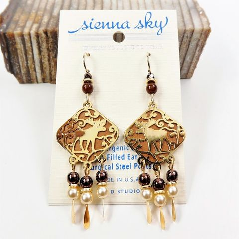 Sienna,Sky,Earrings,-,Gold,Plated,Moose,with,Dangling,Beads,Sienna Sky Earrings, Adajio earrings Sienna Sky, Gold Plated Moose with Dangling Beads earrings