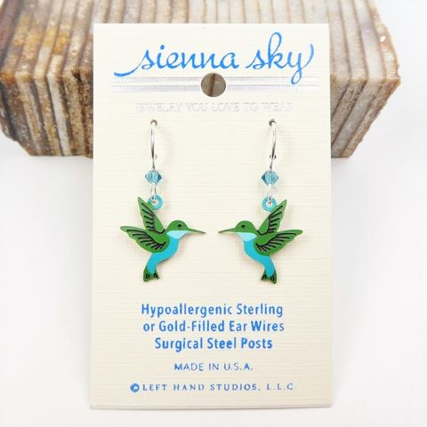 Sienna,Sky,Earrings,-,Western,Emerald,Hummingbird,Sienna Sky Earrings, Adajio earrings Sienna Sky, Western Emerald Hummingbird earrings