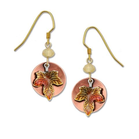Lemon,Tree,-,Copper,Disc,with,Fall,Maple,Leaf,Charm,Earrings,Lemon Tree Earrings Colorado, Lemon Tree Earrings Copper Disc with Fall Maple Leaf Charm