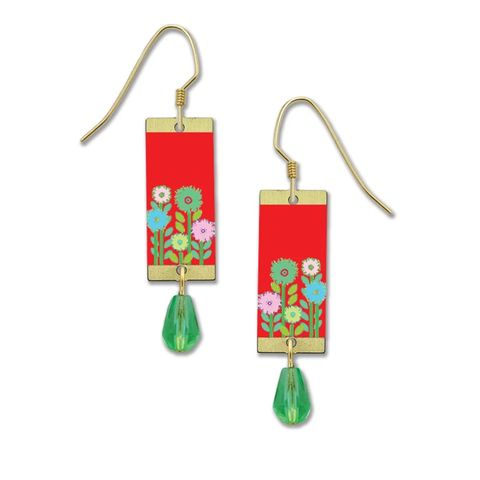 Lemon,Tree,-,Flowers,on,Red,Background,Long,Rectangle,Earrings,Lemon Tree Earrings Colorado, Lemon Tree Earrings flower