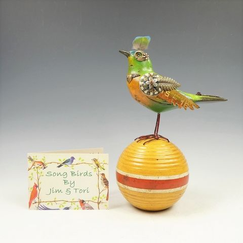 Mullanium,Bird,-,Orange,Chest,Green,on,Vintage,Ball,Mullanium Birds, Mullanium songbirds, mullanium by jim and tori, mullanium art