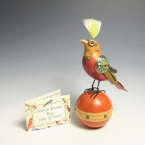 Mullanium,Bird,-,Orange,on,Vintage,Ball,Mullanium Birds, Mullanium songbirds, mullanium by jim and tori, mullanium art