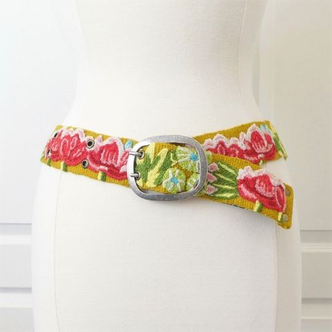 Jenny,Krauss,Giverny,Belt,in,Yellow,Jenny Krauss Belts, jenny krauss embroidered peruvian belt, Jenny Krauss wool embroidered belt, Jenny Krauss Giverny Belt