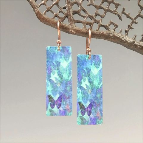 DC,Designs,-,Blue,Butterfly,Art,Print,Long,Rectangle,Earrings,FCCE,DC Designs Jewelry, Art Print Earrings, DC Designs Earrings, Handmade Colorado