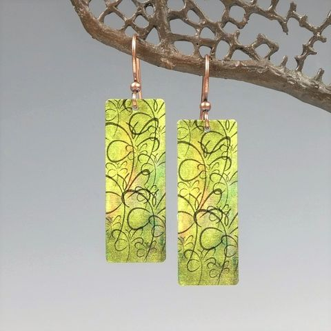 DC,Designs,-,Green,Chartreuse,Abstract,Dragonfly,Art,Print,Long,Rectangle,Earrings,GTCE,DC Designs Jewelry, Art Print Earrings, DC Designs Earrings, Handmade Colorado