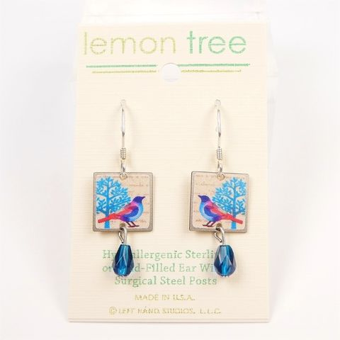 Lemon,Tree,-,Blue,&,Bird,Print,Square,with,Bead,Earrings,Lemon Tree Earrings Colorado, Lemon Tree Bird Earrings