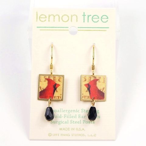 Lemon,Tree,-,Red,Cardinal,Print,Brass,Square,with,Black,Bead,Earrings,Lemon Tree Earrings Colorado, Lemon Tree Cardinal Earrings