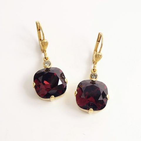 Catherine,Popesco,Large,Crystal,Earrings,in,Burgundy,Catherine Popesco Earrings, La Vie Parisienne Earrings, Catherine Popesco Jewelry, Catherine Popesco Paris