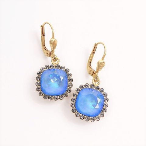 Catherine,Popesco,Stone,Border,Crystal,Earrings,in,Blue,Opal,Catherine Popesco earrings, La Vie Parisienne earrings, Catherine Popesco Jewelry, Catherine Popesco Paris