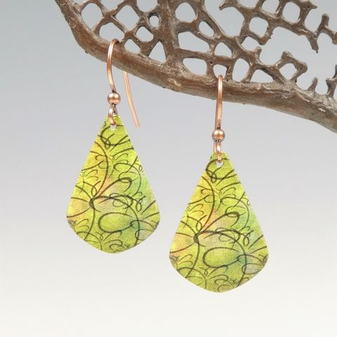 DC,Designs,-,Green,Chartreuse,Abstract,Dragonfly,Art,Print,Teardrop,Earrings,DC Designs Jewelry, Art Print Earrings, DC Designs Earrings, Handmade Colorado
