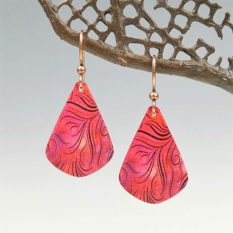 DC,Designs,-,Red,Abstract,Feather,Art,Print,Teardrop,Earrings,DC Designs Jewelry, Art Print Earrings, DC Designs Earrings, Handmade Colorado