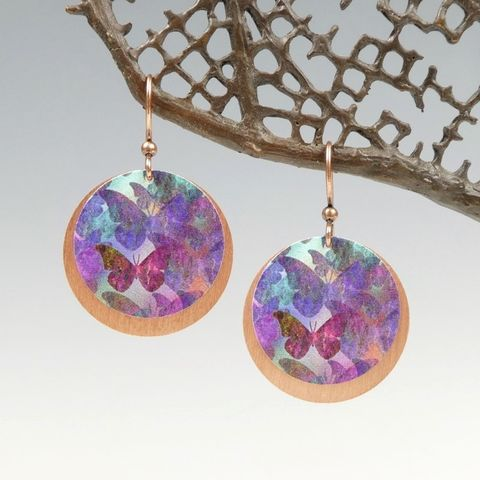 DC,Designs,-,Purple,Butterfly,Art,Print,Layered,Copper,Disc,Earrings,DC Designs Jewelry, Art Print Earrings, DC Designs Earrings, Handmade Colorado