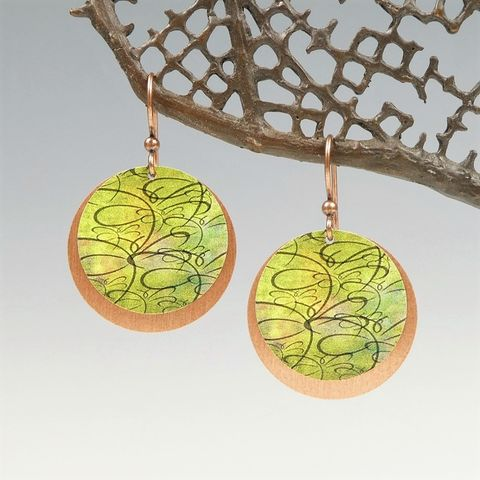 DC,Designs,-,Green,Chartreuse,Abstract,Dragonfly,Art,Print,Layered,Copper,Disc,Earrings,DC Designs Jewelry, Art Print Earrings, DC Designs Earrings, Handmade Colorado