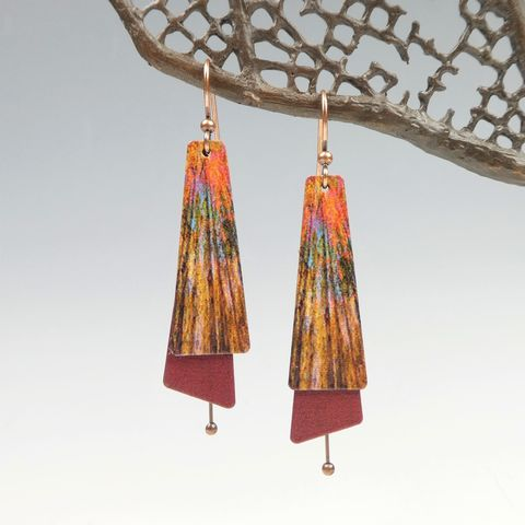 DC,Designs,-,Autumn,Red,Trees,Nature,Print,Layered,Long,Copper,Drop,Earrings,DC Designs Jewelry, Art Print Earrings, DC Designs Earrings, Handmade Colorado