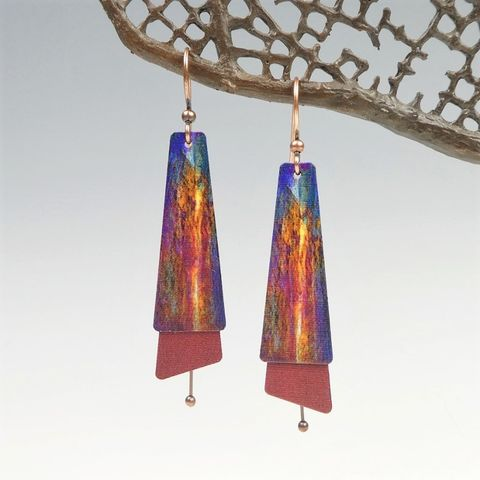 DC,Designs,-,Purple,Blue,Rust,Orange,Abstract,Art,Layered,Long,Copper,Drop,Earrings,DC Designs Jewelry, Art Print Earrings, DC Designs Earrings, Handmade Colorado