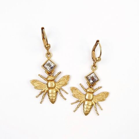 Catherine,Popesco,Gold,Plated,Bee,Earrings,with,Crystal,Catherine Popesco Earrings, La Vie Parisienne Earrings, Catherine Popesco Jewelry, Catherine Popesco Paris