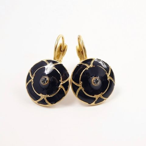 Catherine,Popesco,Small,Black,Enamel,Earrings,with,Crystal,Catherine Popesco Earrings, La Vie Parisienne Earrings, Catherine Popesco Jewelry, Catherine Popesco Paris