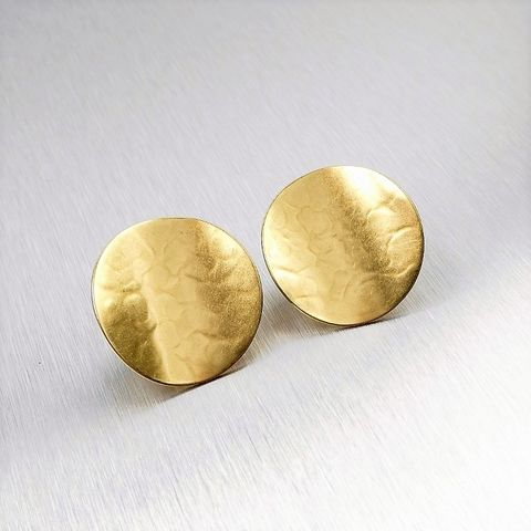 Marjorie,Baer,Hammered,Brass,Curved,Disc,Earrings,Marjoire Baer, Marjorie Baer Hammered Brass Curved Disc Earrings
