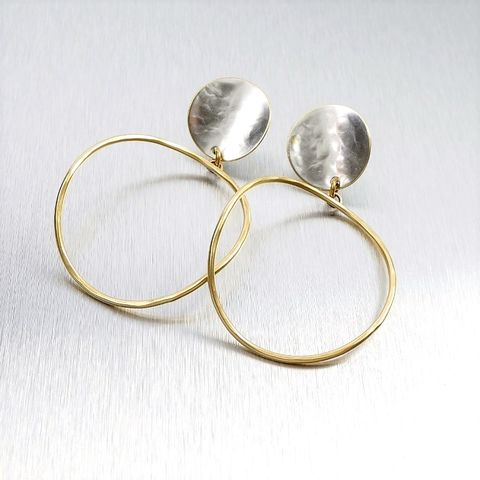Marjorie,Baer,Curved,Disc,with,Large,Organic,Ring,Earrings,Marjorie Baer Curved Disc with Large Ring Earrings