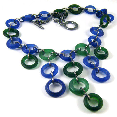 Cobalt,Blue,and,Forest,Green,Glass,Dogon,Bead,Necklace,-,Sterling,Silver,Jewelry,glass_dogon_beads,antique,african_trade_beads,annular_wound_beads,sterling_silver,cobalt_blue,forest_green,night_sky_jewelry,nightskyjewelry,dutch_donut_beads,bib_necklace